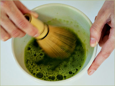 Step Three: Add the heated water to your bowl of Matcha.
