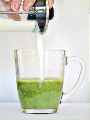 Step Four: Finally, pour the heated milk into your mug with the Matcha and add sugar or honey to taste.