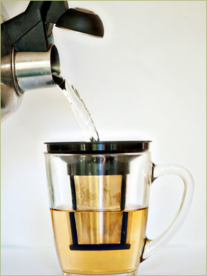 Step Three: Pour your heated water over the tea-filled T-Sac or through the tea-filled infuser.