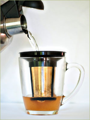 Step Two: Next, make a super strength brew by steeping your tea in 1/3 cup boiling water.