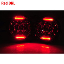 "7"" ROUND BUGEYE HEADLIGHT KIT RED DRL"