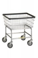 R&B Wire #100D Rolling Narrow Laundry Cart/Chrome Basket on Wheels