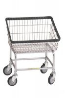 R&B Wire #100T Rolling Front Load Laundry Cart/Chrome Basket on Wheels