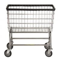 R&B Wire #200F Large Capacity Rolling Laundry Cart/Chrome Basket on Wheels