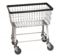 R&B Wire #96B Economy Laundry Cart/Chrome Basket on Wheels