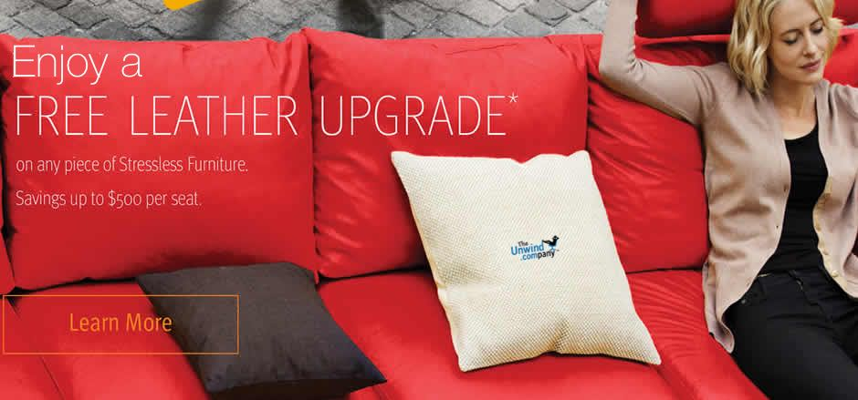 The popular 2015 Ekornes Leather Upgrade Promotion- Save on your Stressless Furniture purchase