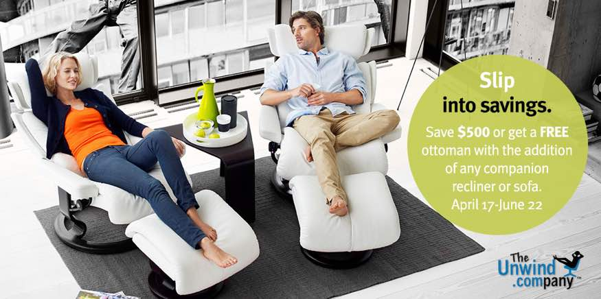 Save Big During the 2015 Ekornes Companion Seating Promotion at Unwind.