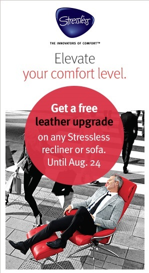 Save $100s on a new Stressless Recliner with the Free Leather Upgrade at Unwind.