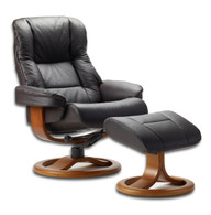 Loen recliner and ottoman in Havana Nordic Line Leather is a super bargain.