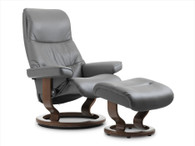 New 2016 Metal Grey Paloma Leather shown on this Stressless View Classic Base Recliner.