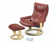 Ekornes Stressless Eagle Recliner Chair - Paloma Leather with Natural Wood Base - Stunning, Norwegian Quality