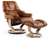 Stressless Vegas in Brandy Paloma with Natural Stained wood.