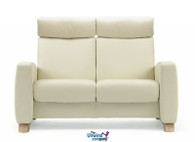 Ekornes Stressless Arion High-Back- Loveseat in Paloma leather.