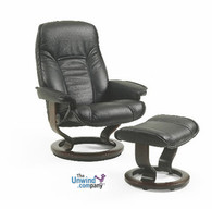 Governor recliner shown here in Black Paloma leather.