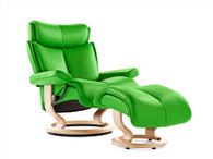 Stressless Magic Recliner show in New Summer Green Paloma Color.