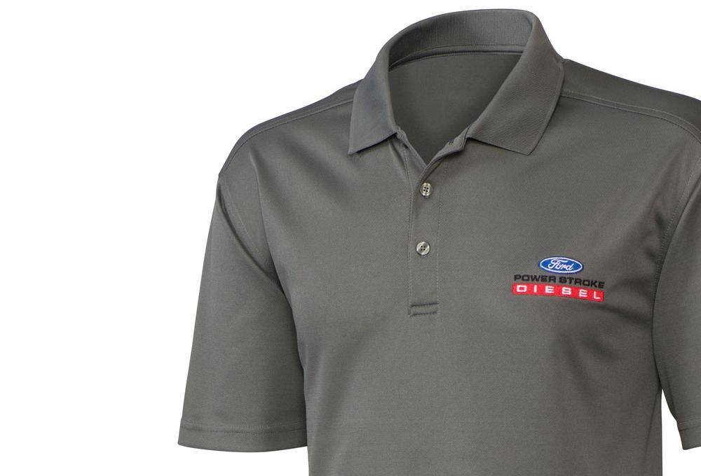Ford Power Stroke Diesel Gray Polo Shirt