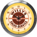 Willys Sales-Service Neon Clock