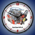 GM Dual Quad 409 V8 Backlit Clock