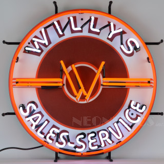 Willys Sales Service Neon Sign Auto Gear Direct