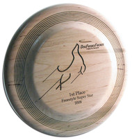 CUSTOM ENGRAVED WOOD DISC DOG TROPHY FASTBACK SHAPE