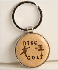 WOOD DISC GOLF MINI KEY CHAIN TROPHY OR CLUB TAGS