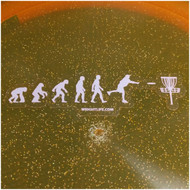 EVOLUTION OF DISC GOLF STICKER - SMALL W/ CLEAR BACKING