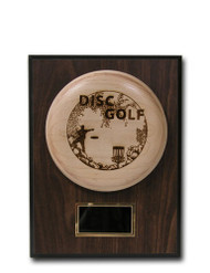 CUSTOM ENGRAVED WOOD DISC GOLF TROPHY WITH PLAQUE