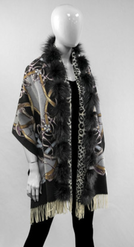 Fur Trim Ponchos
