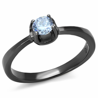 Personalized Ring Light Black IP Clear CZ Band Ring