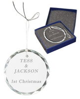 Personalized Crystal Round Facet Ornament 3 inch