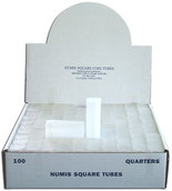 Numis Square Tubes for Quarters - Pack of 100