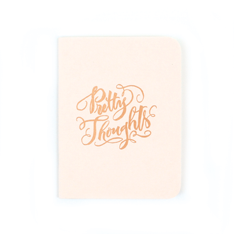 """Pretty Thoughts"" Gold Foil Notebook, Blush Pink"