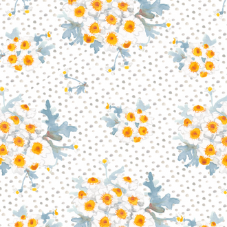"""Chamomile"" Floral Patterned Paper, 10 pack"