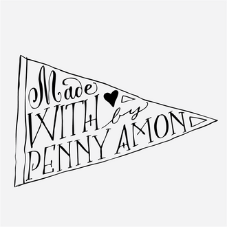 """Handmade by"" Pennant Rubber Stamp"