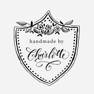 """Handmade by"" Floral Crest Rubber Stamp"