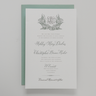 """Eucalyptus"" Letterpress Invitation"