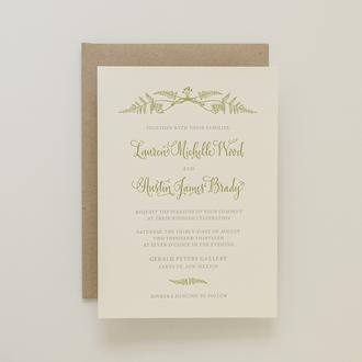 """Fern Forrest"" Letterpress Invitation"