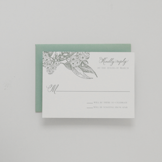 """Eucalyptus"" Letterpress Reply Card"
