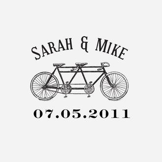 """Bicycle"" Wedding Date Monogram Stamp"