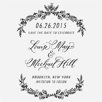 """""""Laurel Wreath"""" Save the Date Stamp"""
