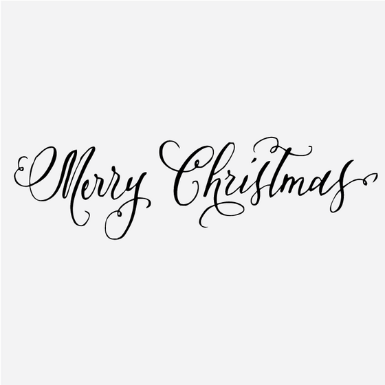 Calligraphy Merry Christmas Stamp - Antiquaria