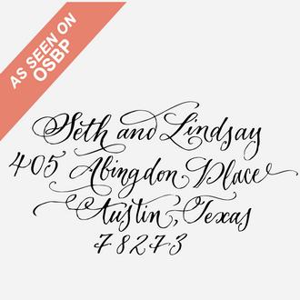 Calligraphy Custom Return Address Stamp