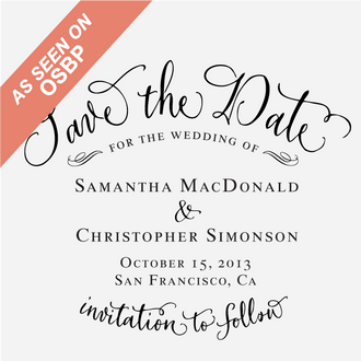 """""""Vintage Calligraphy"""" Save the Date Stamp"""