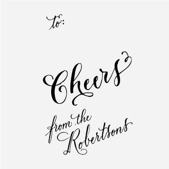 """Cheers"" Custom Calligraphy Gift Tag Rubber Stamp"