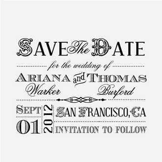 """""""Old West Block"""" Save the Date Stamp"""