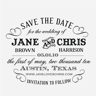 """""""Typography"""" Save the Date Stamp"""