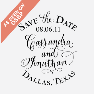 """Vintage Label"" Save the Date Stamp"
