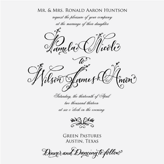 """Floral Calligraphy"" Invitation Stamp"