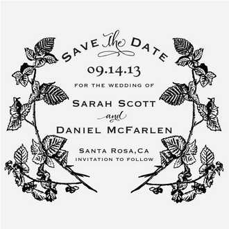 """""""Berry Vines"""" Save the Date Stamp"""