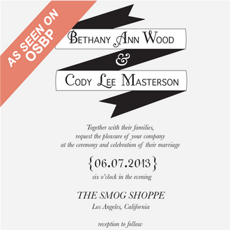 """Modern Banner"" Wedding Invitation Stamp"